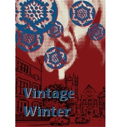 vintage winter vector image