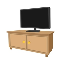 Wooden TV cabinet with a large TV cartoon icon vector image vector image