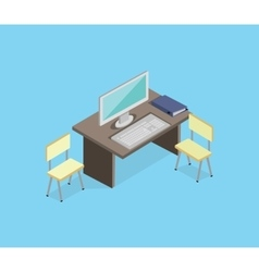 Workplace empty isolated design isometric vector