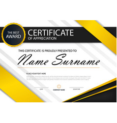 yellow elegance horizontal certificate template vector image vector image