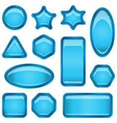 Set blue buttons vector image