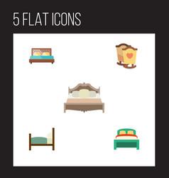 Flat mattress set of bed bedroom hostel and vector