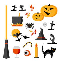 halloween items set vector image