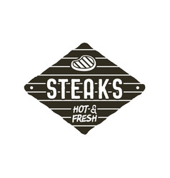 Steaks old style patch rustic design bbq badge vector