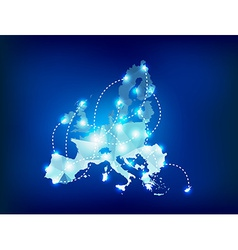European union map polygonal with spot lights vector