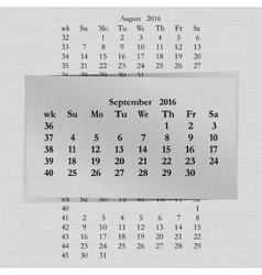 Calendar month for 2016 pages september vector