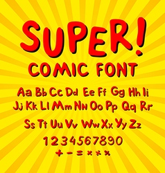 Creative comic font alphabet in style of comics vector