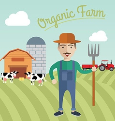 Farmer working in the farm organic farm concept vector