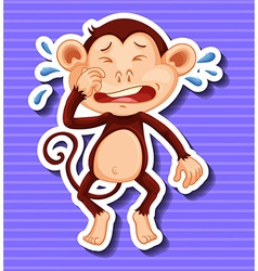 Little monkey crying on purple background vector