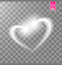a shiny heart sparkles on a transparent background vector image vector image