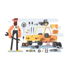 Auto detailing machine workroom vector