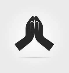 Black praying hands icon vector