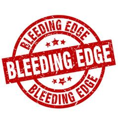 Bleeding edge round red grunge stamp vector