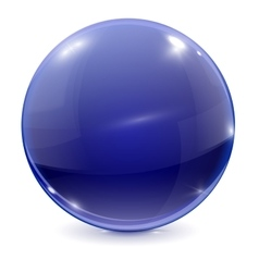 Blue sphere 3d glass ball vector image