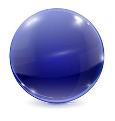 Blue sphere 3d glass ball vector