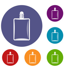Bottle of female perfume icons set vector