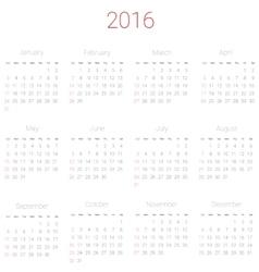 Calendar for 2016 vector