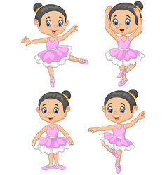 Cartoon little ballet dancer collection set vector
