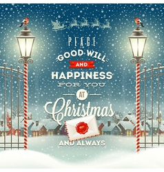 Christmas greeting type design with street lantern vector image vector image