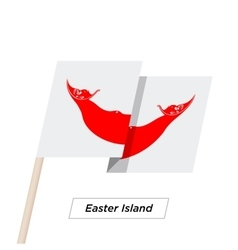 Easter island ribbon waving flag isolated on white vector