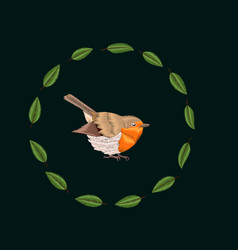Embroidery blackthorn leaves and robin bird vector