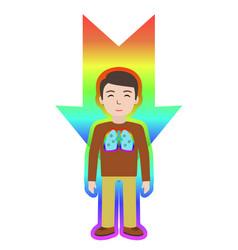 Energetic healing man heal himself with energy vector