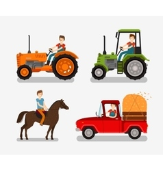 Farm icons set cartoon symbols such as tractor vector