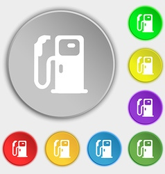 Fuel icon sign Symbol on eight flat buttons vector image