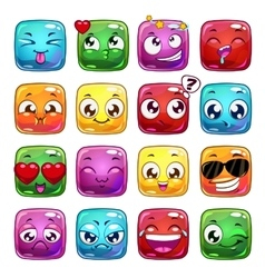 Funny cartoon square jelly characters vector image vector image