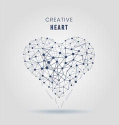 geometric heart molecular connections with lines vector image vector image