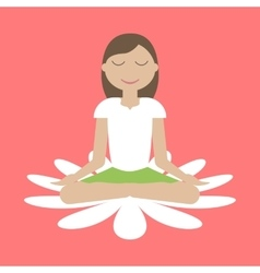Girl Sitting in Yoga Lotus Position vector image vector image