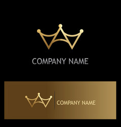 gold triangle crown logo vector image