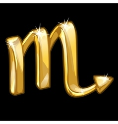 Golden zodiac sign Scorpio on black background vector image