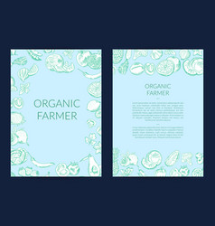 handdrawn fruits and vegetables card flyer vector image