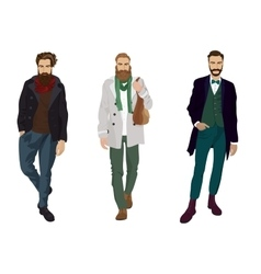 Handsome young guys with hipster beards in fashion vector image