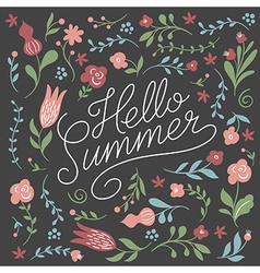Hello summer lettering on a black background vector