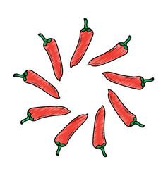 Hot mexican chili pepper fast food round vector