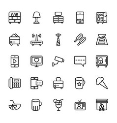 Hotel line icons 14 vector