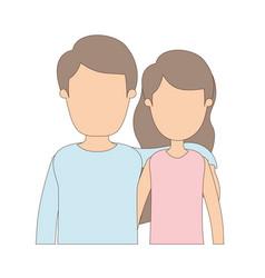 Light color caricature faceless half body couple vector