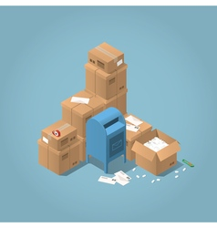 Mailbox and parcel vector image vector image
