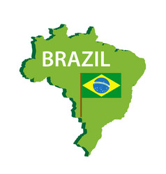 map and flag of brazil icon isolated on white vector image