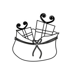 monochrome contour of bag with christmas gifts vector image