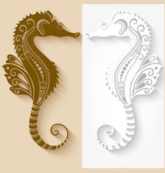 Of sea horses mehndi ornament vector