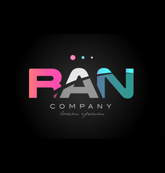 ran r a n three letter logo icon design vector image