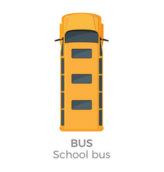 School bus icon top view flat vector