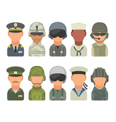 set icon character military people soldier vector image