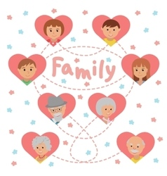 Set of colored icons faces family members vector
