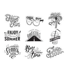 Set of hand drawn lettering with vector