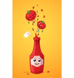 Set of ketchup characters cute cartoons vector