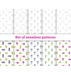 Set seamless patterns Line design ice cream vector image vector image